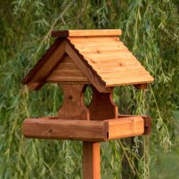 Rustic Timber Roof Bird Table